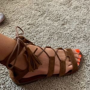 Tan suede gladiator sandals size 38
